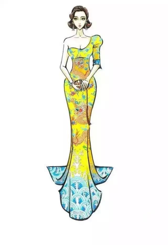 范冰冰历届礼服的手绘图_杭州育人服装培训学校