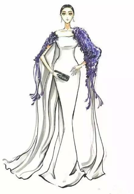 范冰冰历届礼服的手绘图